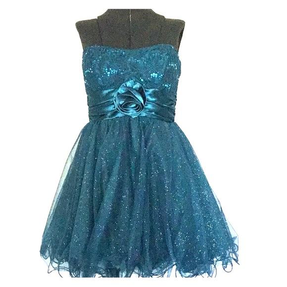 Speechless Dresses Teal Sequined Strapless Short Formal Dress